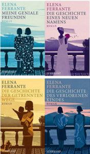 Die vier Buchcover der neapolitanischen Saga von Elena Ferrante